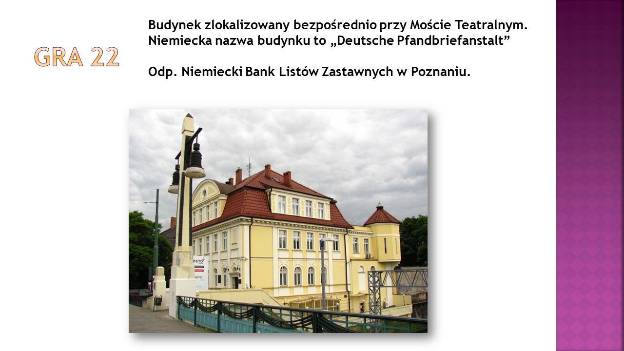 """Budynek zlokalizowany bezpośrednio przy Moście Teatralnym. Niemiecka nazwa budynku to """"Deutsche Pfandbriefanstalt"""" Odp. Niemiecki Bank Listów Zastawny"""
