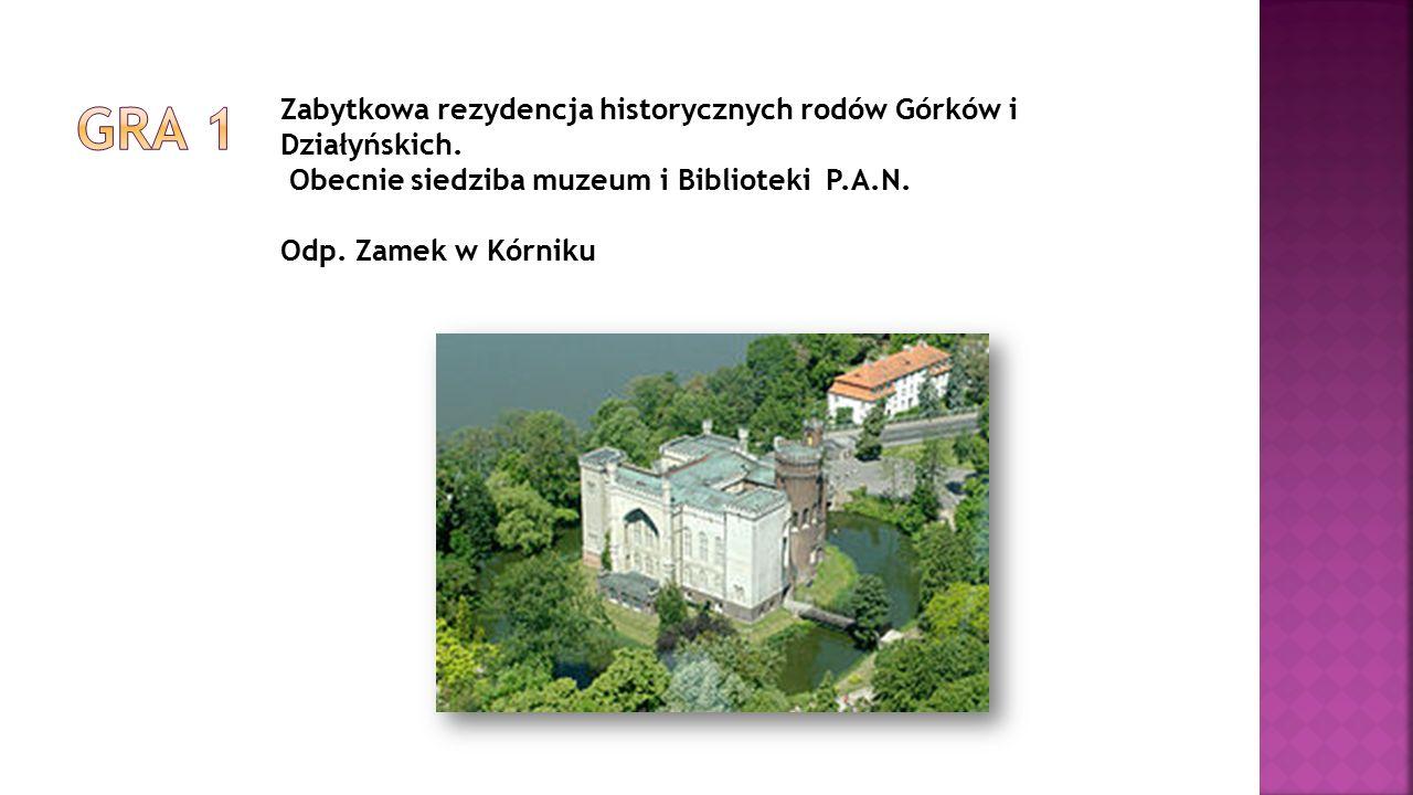 Zabytkowa rezydencja historycznych rodów Górków i Działyńskich. Obecnie siedziba muzeum i Biblioteki P.A.N. Odp. Zamek w Kórniku