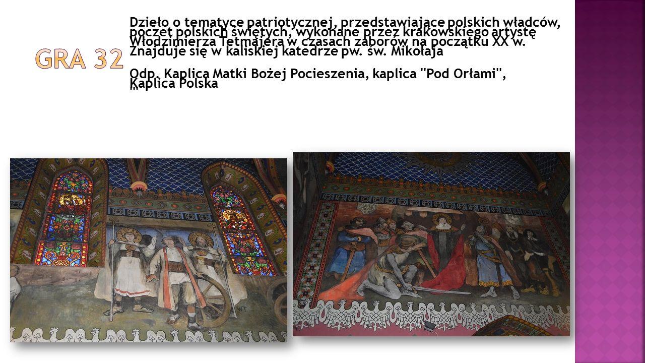 Dzieło o tematyce patriotycznej, przedstawiające polskich władców, poczet polskich świętych, wykonane przez krakowskiego artystę Włodzimierza Tetmajer