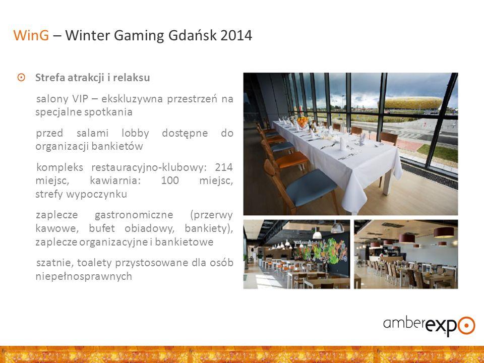 Strefa atrakcji i relaksu salony VIP – ekskluzywna przestrzeń na specjalne spotkania przed salami lobby dostępne do organizacji bankietów kompleks restauracyjno-klubowy: 214 miejsc, kawiarnia: 100 miejsc, strefy wypoczynku zaplecze gastronomiczne (przerwy kawowe, bufet obiadowy, bankiety), zaplecze organizacyjne i bankietowe szatnie, toalety przystosowane dla osób niepełnosprawnych WinG – Winter Gaming Gdańsk 2014