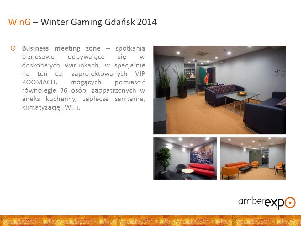 Strefa konferencyjna – złożona z 4 wielofunkcyjnych, klimatyzowanych sal konferencyjnych łączna pojemność 1 130 miejsc łączna powierzchnia 2 200 m2 (w tym 1,100 m2 sale konferencyjne) dla większej liczby uczestników miejsca można przygotować w salach konferencyjnych wydzielonych z hal wystawienniczych WinG – Winter Gaming Gdańsk 2014