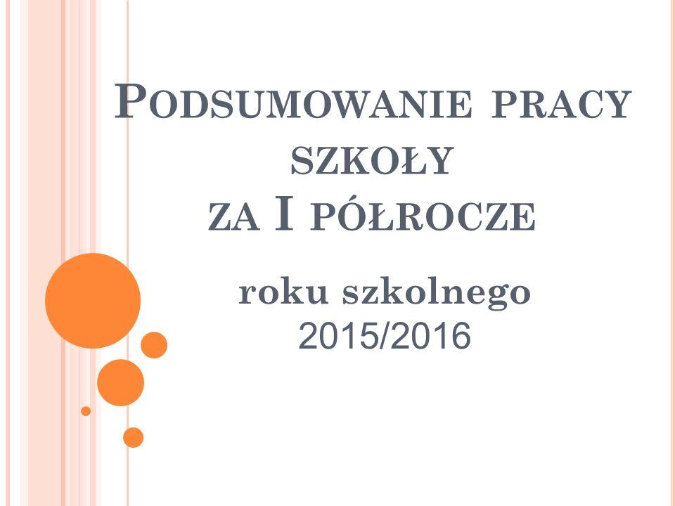 P ODSUMOWANIE PRACY SZKOŁY ZA I PÓŁROCZE roku szkolnego 2015/2016