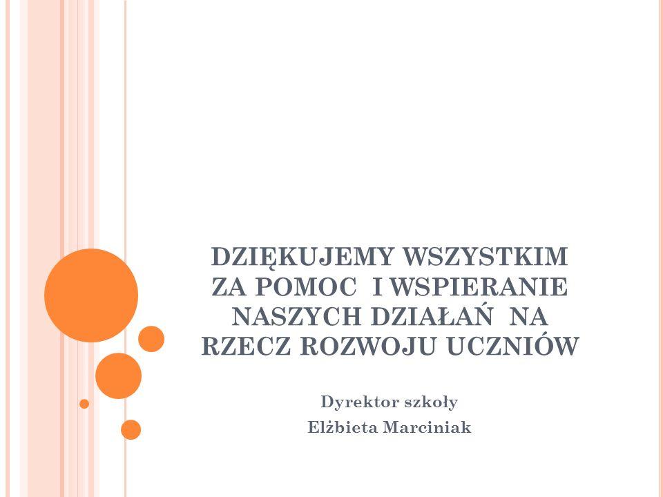 DZIĘKUJEMY WSZYSTKIM ZA POMOC I WSPIERANIE NASZYCH DZIAŁAŃ NA RZECZ ROZWOJU UCZNIÓW Dyrektor szkoły Elżbieta Marciniak