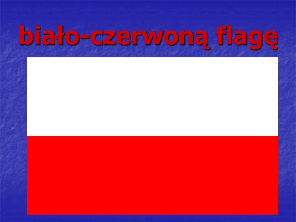 biało-czerwoną flagę