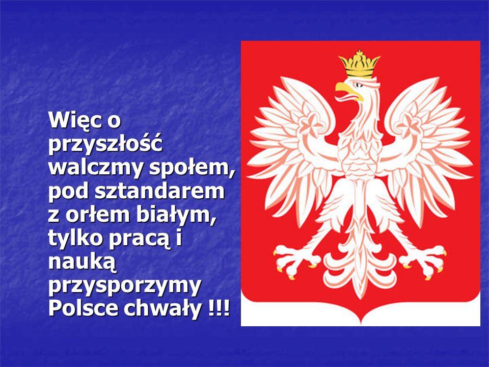 Więc o przyszłość walczmy społem, pod sztandarem z orłem białym, tylko pracą i nauką przysporzymy Polsce chwały !!!