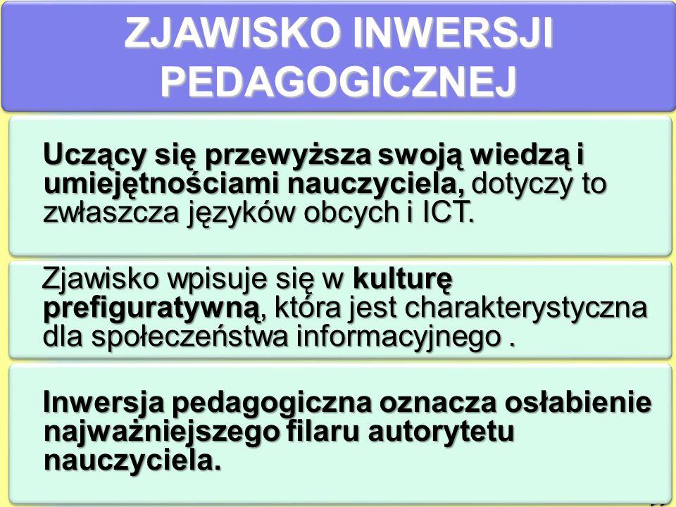 ZJAWISKO INWERSJI PEDAGOGICZNEJ >> Uczący się przewyższa swoją wiedzą i umiejętnościami nauczyciela, dotyczy to zwłaszcza języków obcych i ICT.