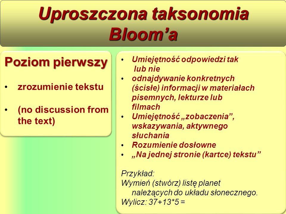 """Poziom pierwszy zrozumienie tekstu (no discussion from the text) Poziom pierwszy zrozumienie tekstu (no discussion from the text) Uproszczona taksonomia Bloom'a Umiejętność odpowiedzi tak lub nie odnajdywanie konkretnych (ścisłe) informacji w materiałach pisemnych, lekturze lub filmach Umiejętność """"zobaczenia , wskazywania, aktywnego słuchania Rozumienie dosłowne """"Na jednej stronie (kartce) tekstu Przykład: Wymień (stwórz) listę planet należących do układu słonecznego."""