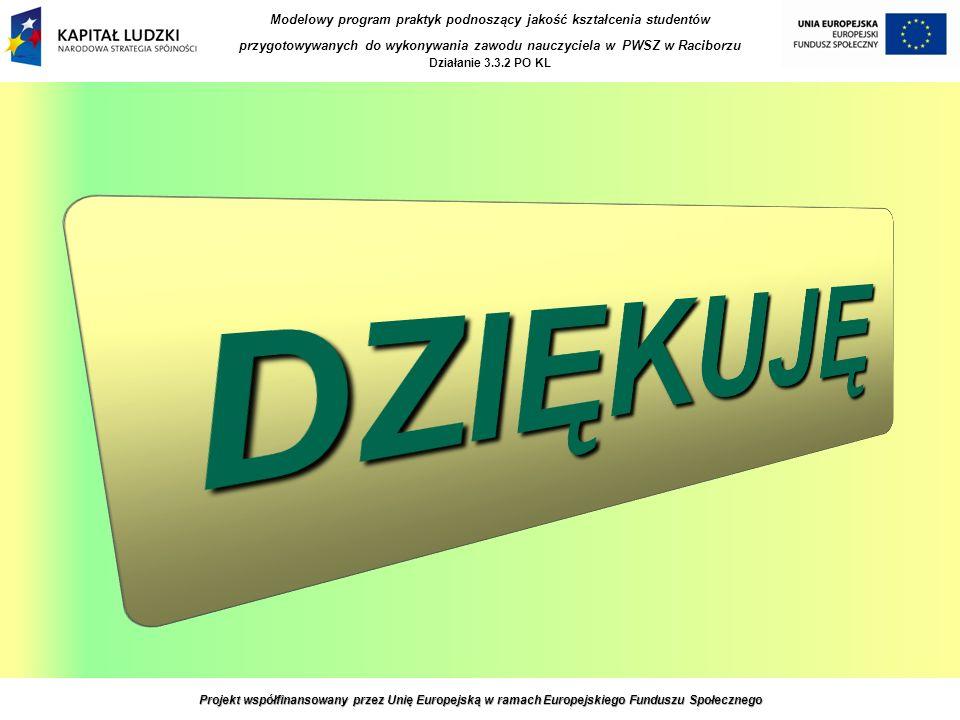 Projekt współfinansowany przez Unię Europejską w ramach Europejskiego Funduszu Społecznego Modelowy program praktyk podnoszący jakość kształcenia studentów przygotowywanych do wykonywania zawodu nauczyciela w PWSZ w Raciborzu Działanie 3.3.2 PO KL