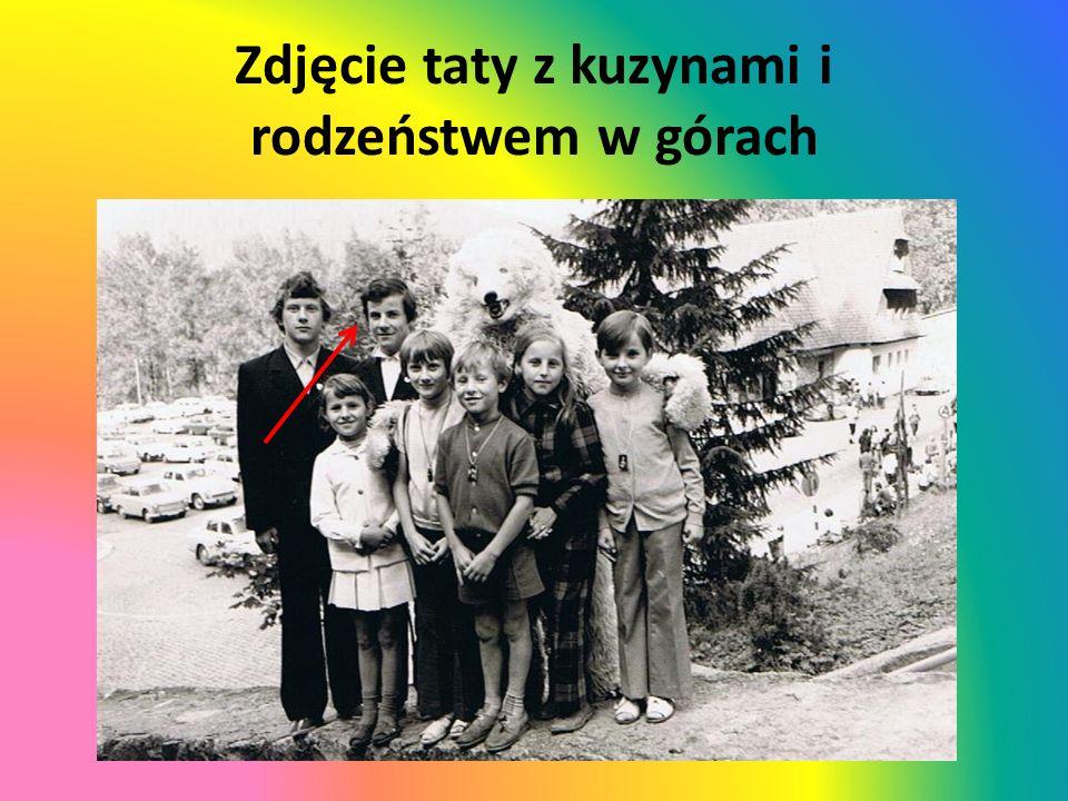 Zdjęcie taty z kuzynami i rodzeństwem w górach