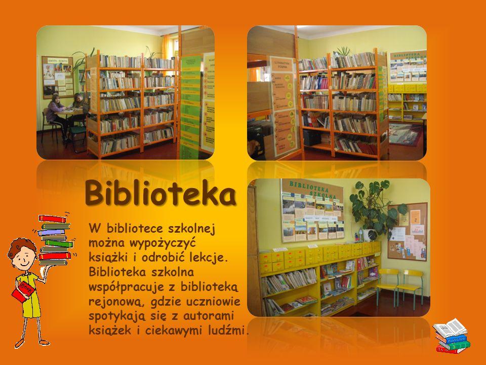 Biblioteka W bibliotece szkolnej można wypożyczyć książki i odrobić lekcje.