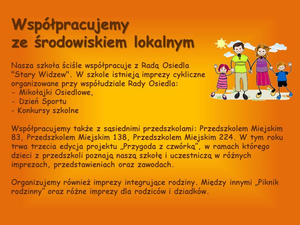 Współpracujemy ze środowiskiem lokalnym Nasza szkoła ściśle współpracuje z Radą Osiedla Stary Widzew .