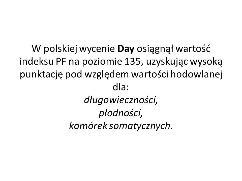 W polskiej wycenie Day osiągnął wartość indeksu PF na poziomie 135, uzyskując wysoką punktację pod względem wartości hodowlanej dla: długowieczności, płodności, komórek somatycznych.