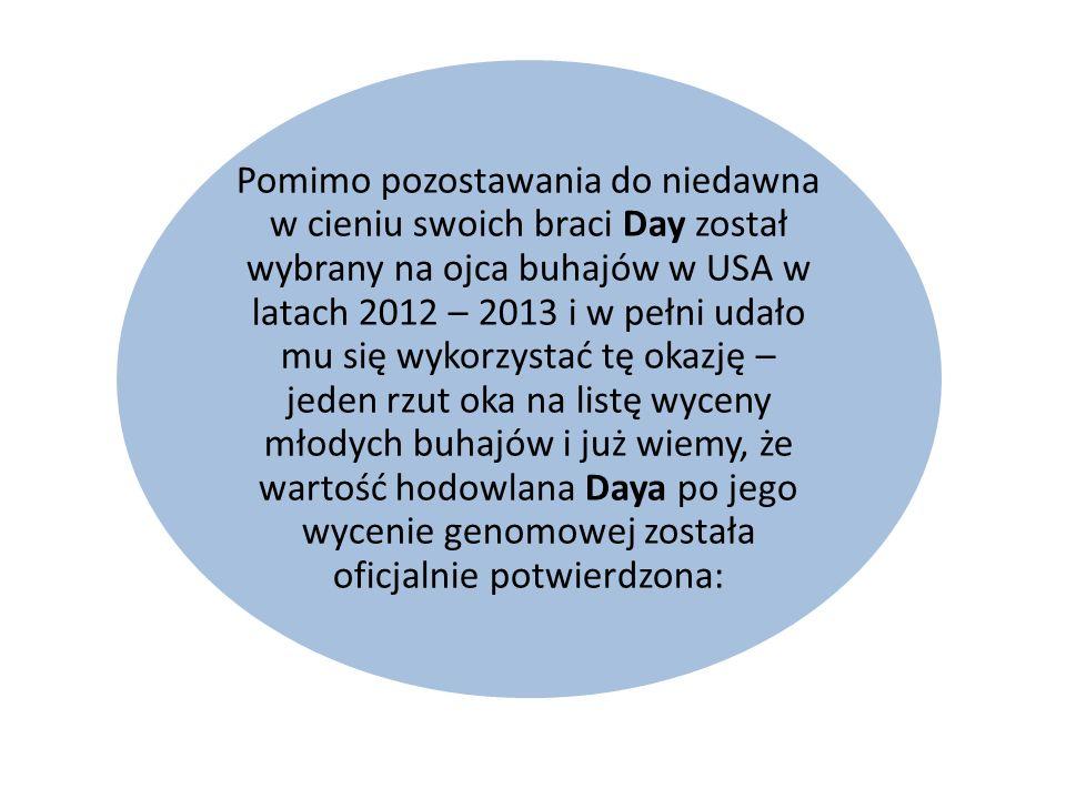 Pomimo pozostawania do niedawna w cieniu swoich braci Day został wybrany na ojca buhajów w USA w latach 2012 – 2013 i w pełni udało mu się wykorzystać tę okazję – jeden rzut oka na listę wyceny młodych buhajów i już wiemy, że wartość hodowlana Daya po jego wycenie genomowej została oficjalnie potwierdzona: