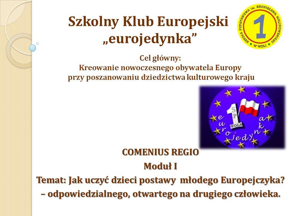 """Szkolny Klub Europejski """"eurojedynka Cel główny: Kreowanie nowoczesnego obywatela Europy przy poszanowaniu dziedzictwa kulturowego kraju COMENIUS REGIO Moduł I Temat: Jak uczyć dzieci postawy młodego Europejczyka."""