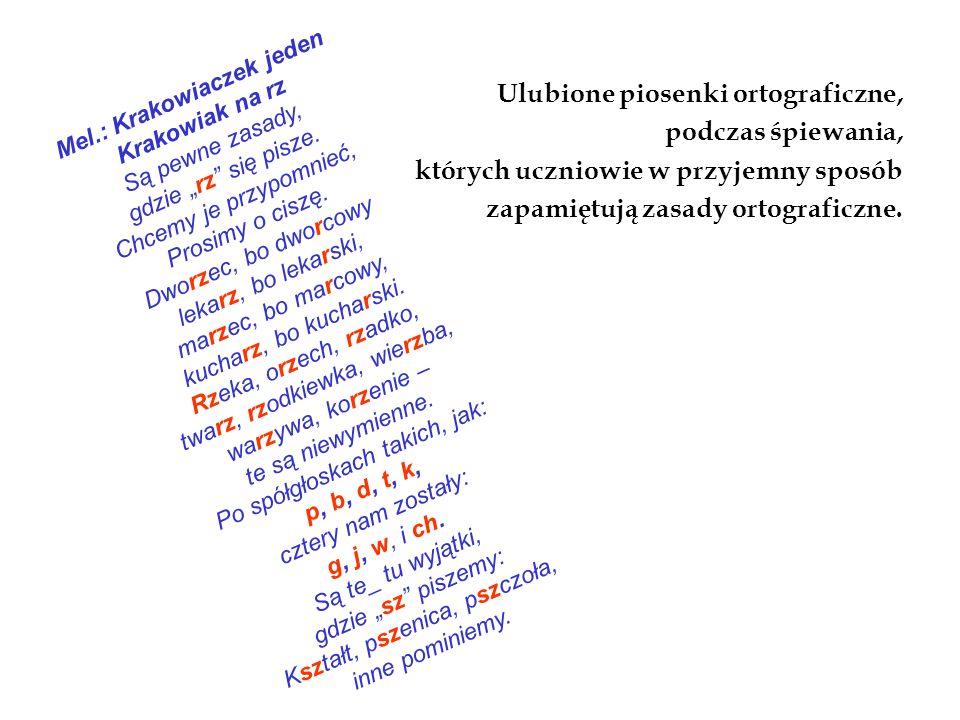 Ulubione piosenki ortograficzne, podczas śpiewania, których uczniowie w przyjemny sposób zapamiętują zasady ortograficzne.