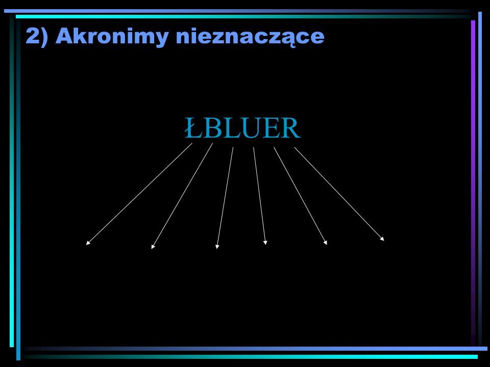 2) Akronimy nieznaczące ŁBLUER