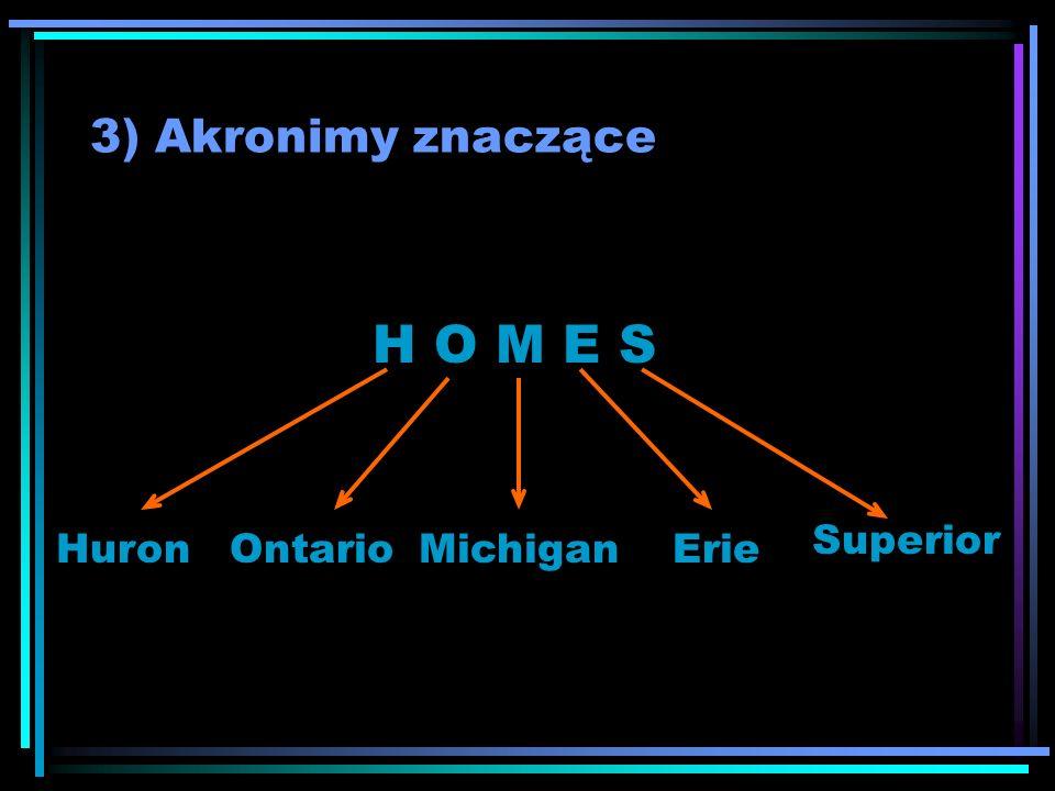 3) Akronimy znaczące H O M E S HuronOntarioMichiganErie Superior