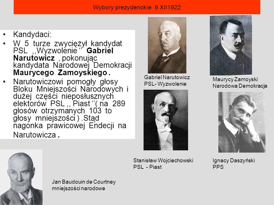 Wybory prezydenckie 9 XII1922 Kandydaci: W 5 turze zwyciężył kandydat PSL,,Wyzwolenie '' Gabriel Narutowicz, pokonując kandydata Narodowej Demokracji