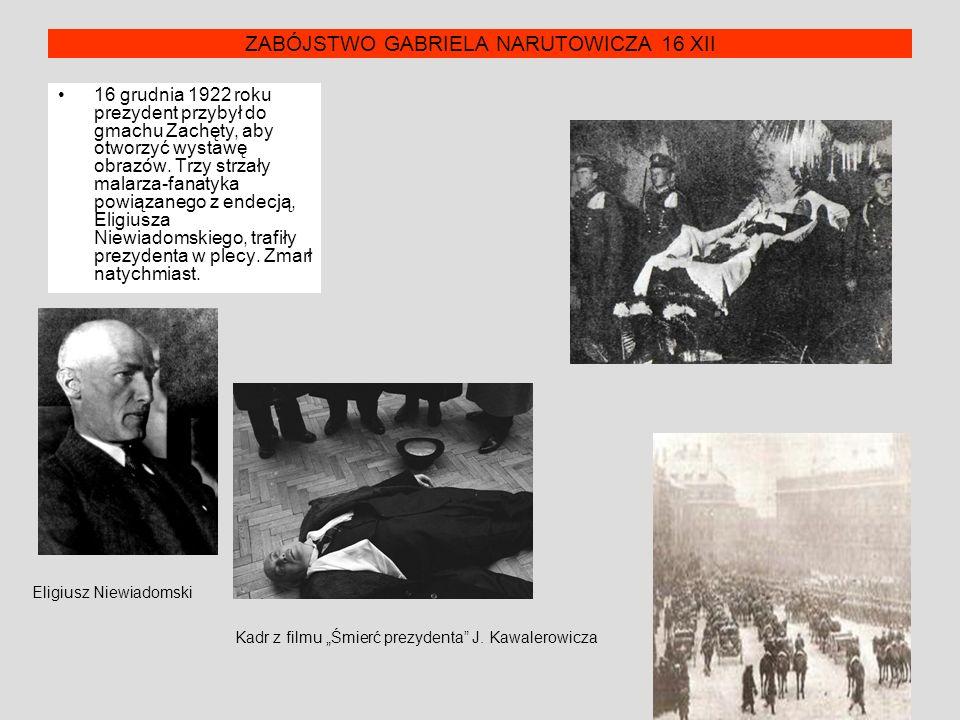 ZABÓJSTWO GABRIELA NARUTOWICZA 16 XII 16 grudnia 1922 roku prezydent przybył do gmachu Zachęty, aby otworzyć wystawę obrazów. Trzy strzały malarza-fan
