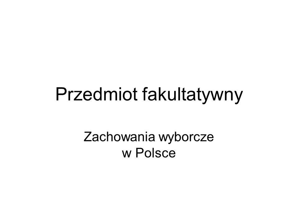 Przedmiot fakultatywny Zachowania wyborcze w Polsce