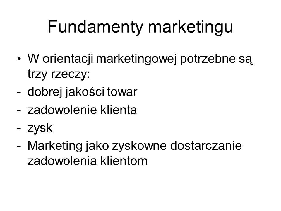 Fundamenty marketingu W orientacji marketingowej potrzebne są trzy rzeczy: -dobrej jakości towar -zadowolenie klienta -zysk -Marketing jako zyskowne d