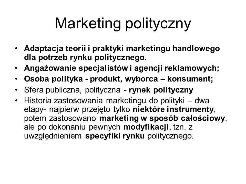 Marketing polityczny Adaptacja teorii i praktyki marketingu handlowego dla potrzeb rynku politycznego. Angażowanie specjalistów i agencji reklamowych;