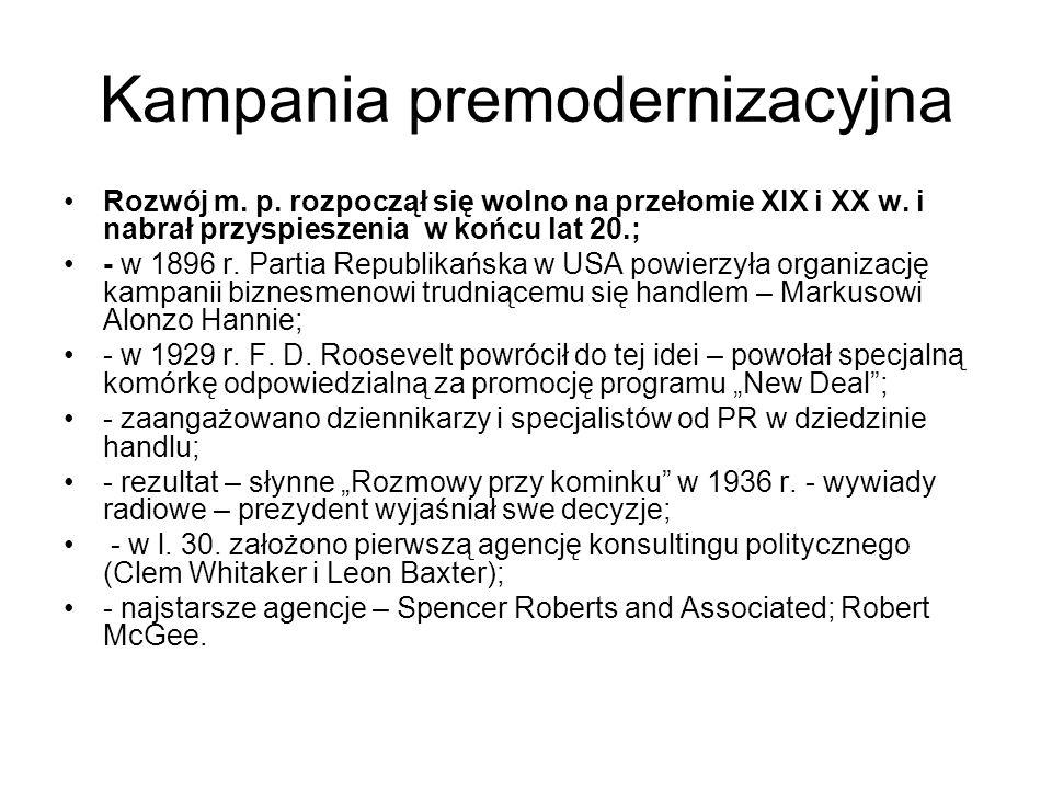 Kampania premodernizacyjna Rozwój m. p. rozpoczął się wolno na przełomie XIX i XX w. i nabrał przyspieszenia w końcu lat 20.; - w 1896 r. Partia Repub