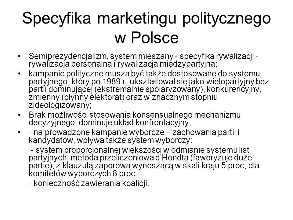 Specyfika marketingu politycznego w Polsce Semiprezydencjalizm, system mieszany - specyfika rywalizacji - rywalizacja personalna i rywalizacja międzypartyjna; kampanie polityczne muszą być także dostosowane do systemu partyjnego, który po 1989 r.