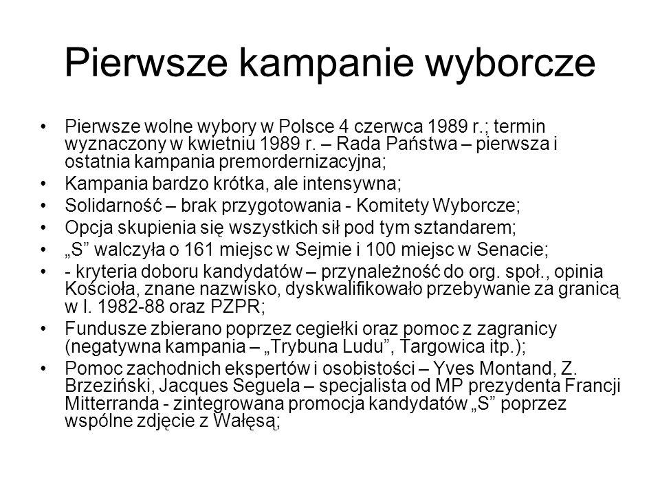 Pierwsze kampanie wyborcze Pierwsze wolne wybory w Polsce 4 czerwca 1989 r.; termin wyznaczony w kwietniu 1989 r.