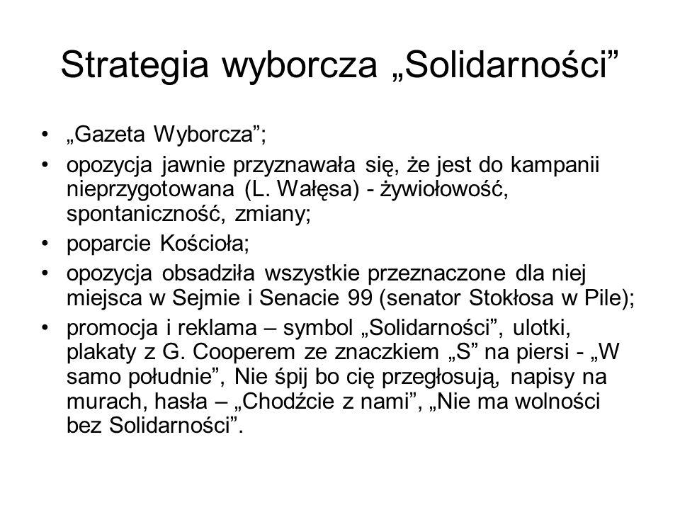 """Strategia wyborcza """"Solidarności"""" """"Gazeta Wyborcza""""; opozycja jawnie przyznawała się, że jest do kampanii nieprzygotowana (L. Wałęsa) - żywiołowość, s"""