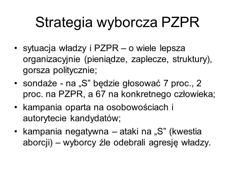 """Strategia wyborcza PZPR sytuacja władzy i PZPR – o wiele lepsza organizacyjnie (pieniądze, zaplecze, struktury), gorsza politycznie; sondaże - na """"S"""""""