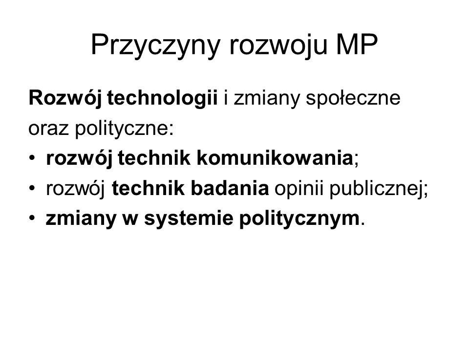 Przyczyny rozwoju MP Rozwój technologii i zmiany społeczne oraz polityczne: rozwój technik komunikowania; rozwój technik badania opinii publicznej; zmiany w systemie politycznym.