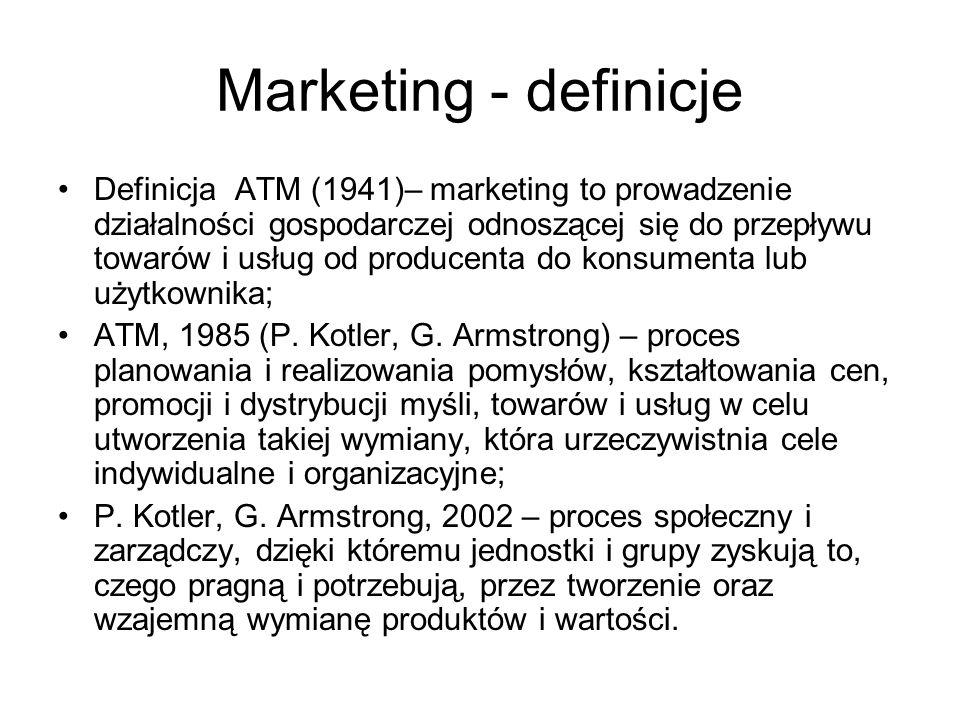 Marketing - definicje Definicja ATM (1941)– marketing to prowadzenie działalności gospodarczej odnoszącej się do przepływu towarów i usług od producenta do konsumenta lub użytkownika; ATM, 1985 (P.