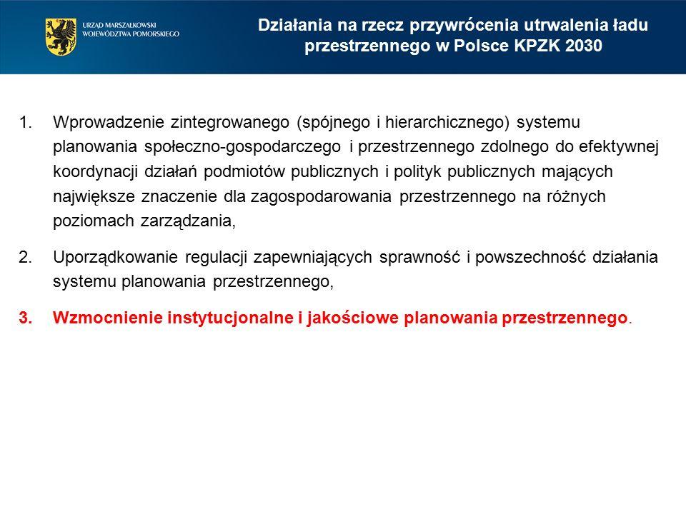 1.Wprowadzenie zintegrowanego (spójnego i hierarchicznego) systemu planowania społeczno-gospodarczego i przestrzennego zdolnego do efektywnej koordynacji działań podmiotów publicznych i polityk publicznych mających największe znaczenie dla zagospodarowania przestrzennego na różnych poziomach zarządzania, 2.Uporządkowanie regulacji zapewniających sprawność i powszechność działania systemu planowania przestrzennego, 3.Wzmocnienie instytucjonalne i jakościowe planowania przestrzennego.