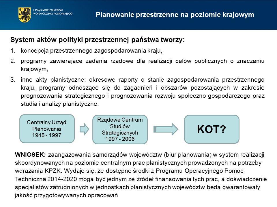 Planowanie przestrzenne na poziomie krajowym 1.koncepcja przestrzennego zagospodarowania kraju, 2.programy zawierające zadania rządowe dla realizacji