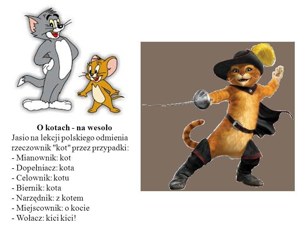O kotach - na wesoło Jasio na lekcji polskiego odmienia rzeczownik