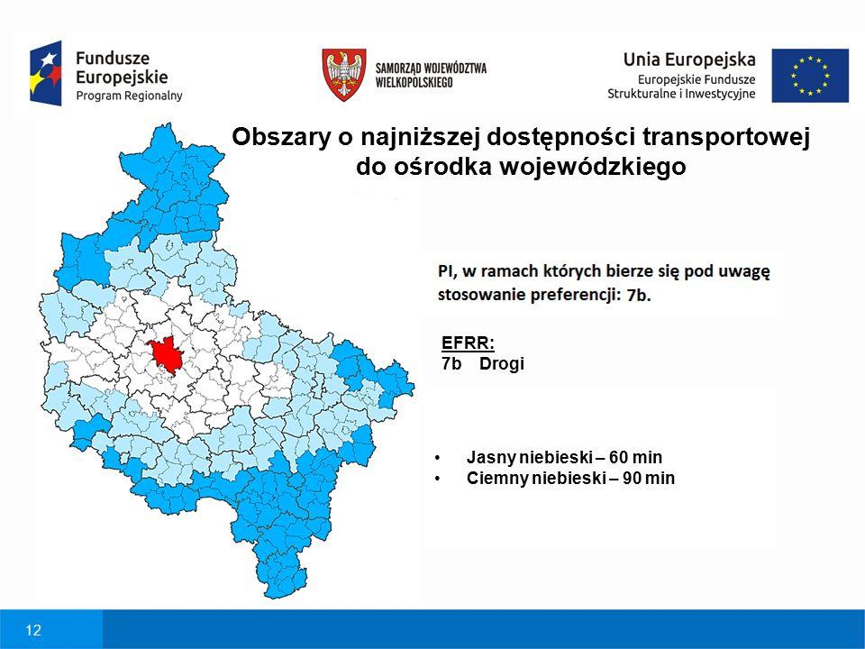 12 EFRR: 7b Drogi Obszary o najniższej dostępności transportowej do ośrodka wojewódzkiego Jasny niebieski – 60 min Ciemny niebieski – 90 min