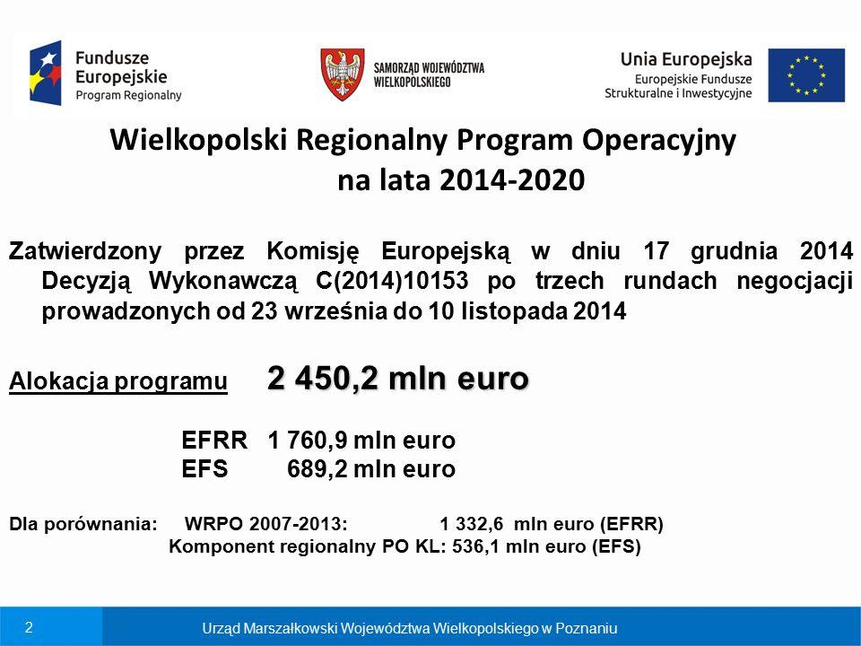 2 Wielkopolski Regionalny Program Operacyjny na lata 2014-2020 Zatwierdzony przez Komisję Europejską w dniu 17 grudnia 2014 Decyzją Wykonawczą C(2014)