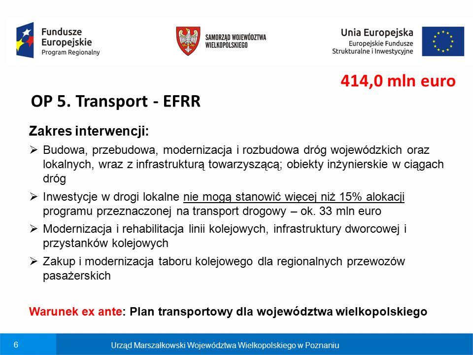 6 OP 5. Transport - EFRR Zakres interwencji:  Budowa, przebudowa, modernizacja i rozbudowa dróg wojewódzkich oraz lokalnych, wraz z infrastrukturą to