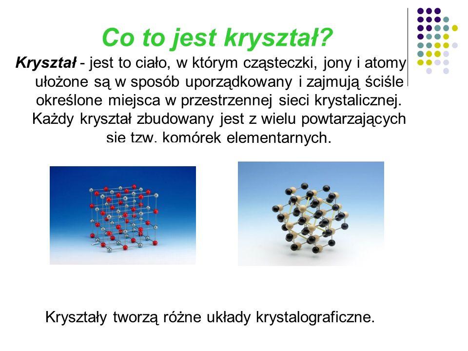 Przykłady struktury kryształów: Np.granat, fluoryt, sól kuchenna, cukier.