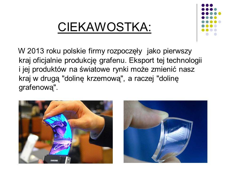 W 2013 roku polskie firmy rozpoczęły jako pierwszy kraj oficjalnie produkcję grafenu.