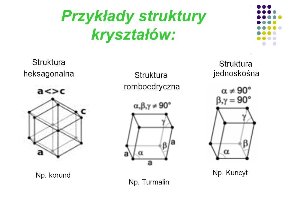Przykłady struktury kryształów: Np. korund Struktura heksagonalna Np.