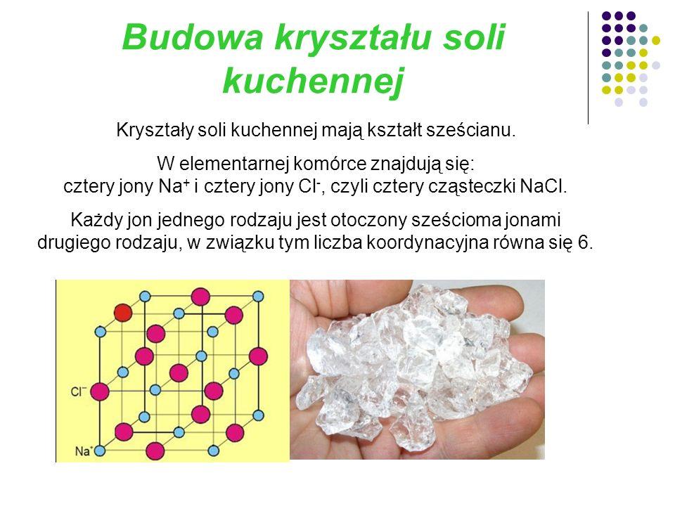 Budowa kryształu soli kuchennej Kryształy soli kuchennej mają kształt sześcianu.