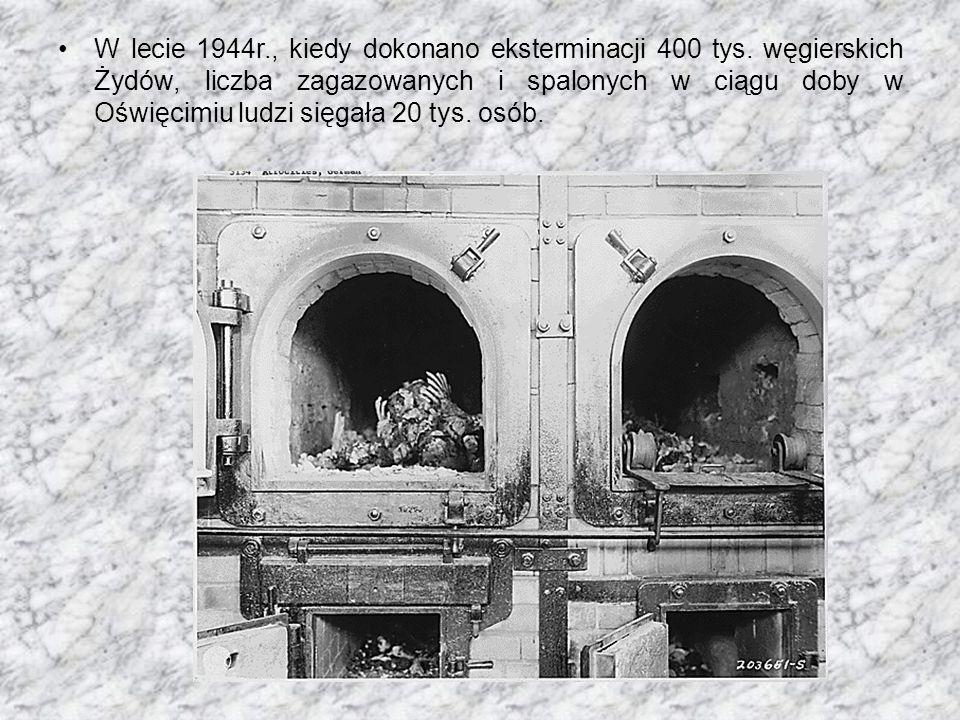 W lecie 1944r., kiedy dokonano eksterminacji 400 tys. węgierskich Żydów, liczba zagazowanych i spalonych w ciągu doby w Oświęcimiu ludzi sięgała 20 ty