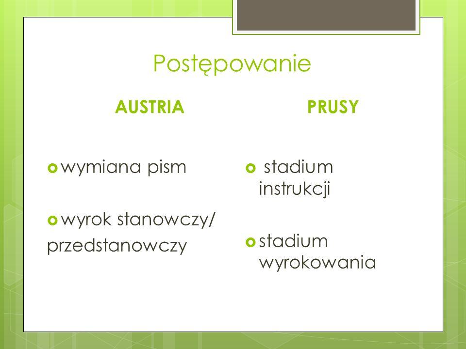 Postępowanie AUSTRIA  wymiana pism  wyrok stanowczy/ przedstanowczy PRUSY  stadium instrukcji  stadium wyrokowania