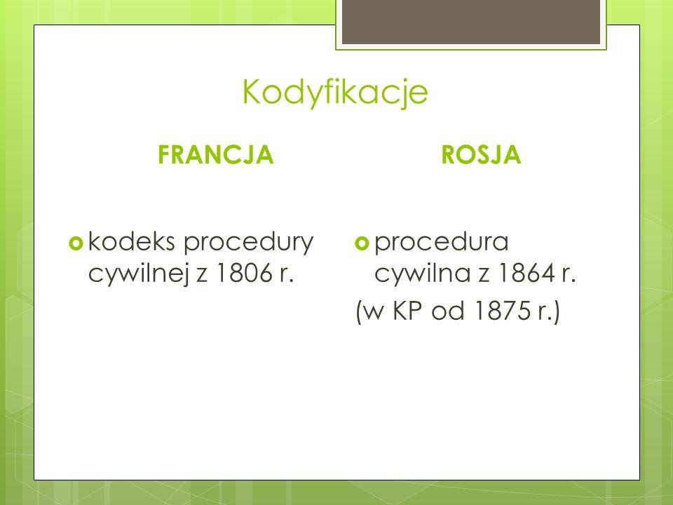 Kodyfikacje FRANCJA  kodeks procedury cywilnej z 1806 r. ROSJA  procedura cywilna z 1864 r. (w KP od 1875 r.)