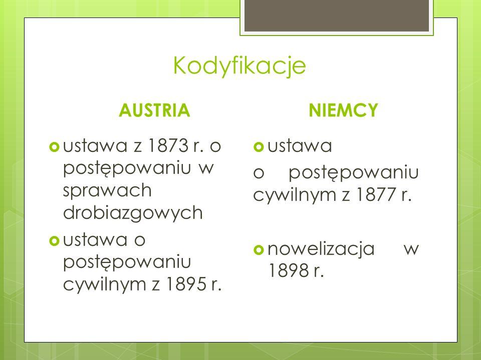 Kodyfikacje AUSTRIA  ustawa z 1873 r. o postępowaniu w sprawach drobiazgowych  ustawa o postępowaniu cywilnym z 1895 r. NIEMCY  ustawa o postępowan