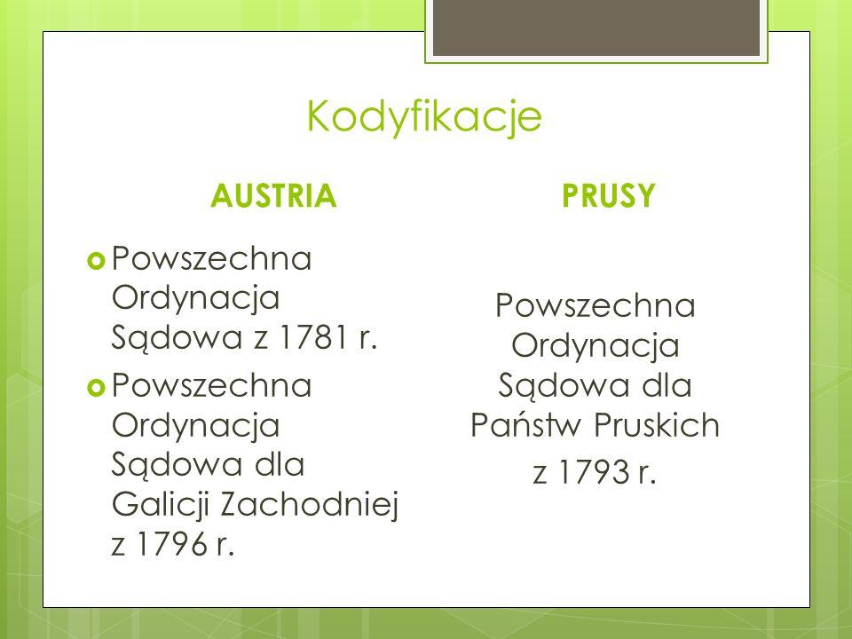 Kodyfikacje AUSTRIA  Powszechna Ordynacja Sądowa z 1781 r.  Powszechna Ordynacja Sądowa dla Galicji Zachodniej z 1796 r. PRUSY Powszechna Ordynacja