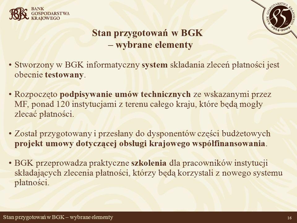 16 Stan przygotowań w BGK – wybrane elementy Stworzony w BGK informatyczny system składania zleceń płatności jest obecnie testowany.