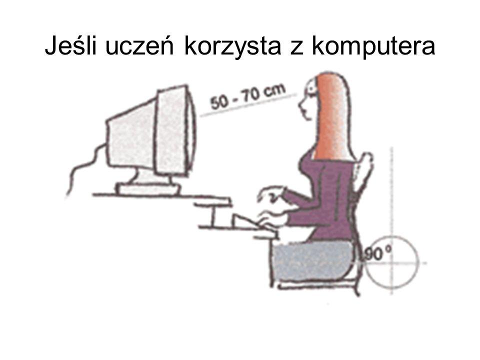 Monitor powinien być pochylony na podstawie tak, aby jego powierzchnia znajdowała się pod kątem prostym do osi spojrzenia skierowanego około 30° w dół.